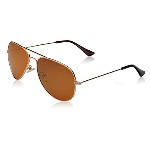 LUENX Hombre Gafas de sol Aviador polarizado con estuche - UV 400 No Espejo de protección Marróne Lente Marco de Dorado 60mm