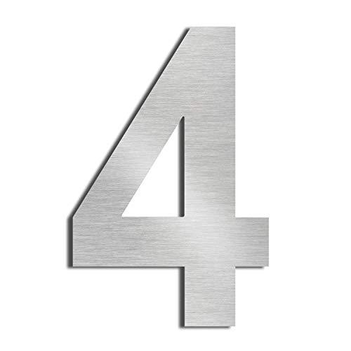 Nanly Número 1 - Adhesivo para casa (acero inoxidable 304 macizo, 10 cm), diseño flotante, nunber 4
