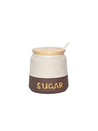 MONTEMAGGI Zuccheriera con cucchiaino in Stoneware e Tappo Legno Siena Variante Unica