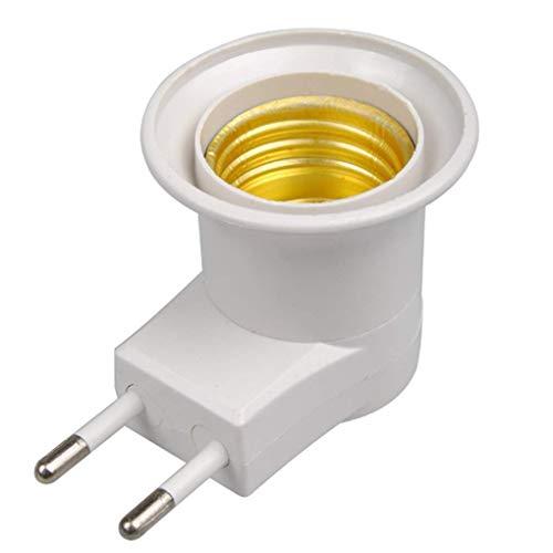 Base de la lámpara E27 LED receptáculo Macho a Tipo de Enchufe de la UE del convertidor del Adaptador de Bombilla Titular (Blanco)