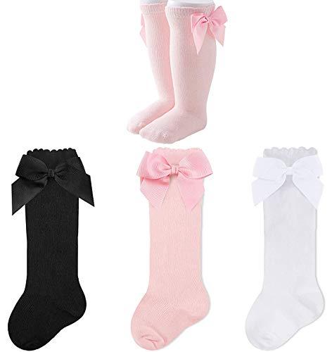 JFAN Pack de 3/6 Calcetines Niñas de Algodón Hasta la Rodilla con Arco Lindo y Suave Calcetines de Bebé para Uniforme Escolar