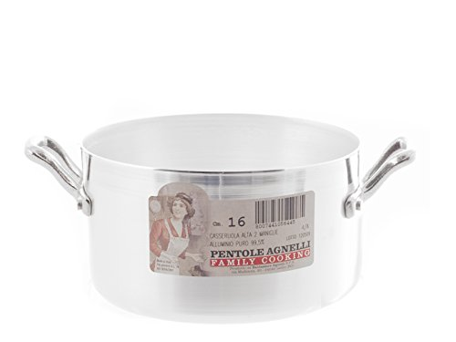 PENTOLE Agnelli fama416 hoge pan met 2 handgrepen, aluminium, zilver