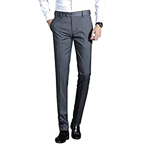 HeiKiビジネススラックス 春 夏 スリム ピンストライプ系 ストレート メンズ スーツパンツ ノータック ストライプ 生地 (グレー,32)