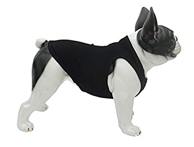 lovelonglong 2019 Summer Pet Clothing, Dog Clothes Blank T-Shirts Ribbed Tanks Top Thread Vests for Pit Bull Medium Dogs 100% Cotton Black L-S