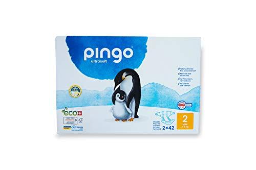 Pingo - Pañales Talla 2 Mini -2 paquetes de 42 unidades- 3-6 kg -Pañales para bebé - Anti-alergénicos sin perfume- Máxima Absorción - Pañales ecológicos - Pieles sensibles - Color Blanco