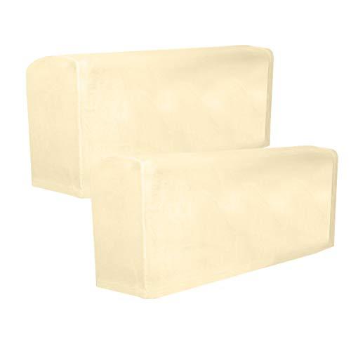 VOSAREA 2 Stücke Stretch Stoff Armlehnenbezüge rutschfeste Möbel Schutz Sessel Schonbezüge für Liegen Sofas Stühle Beige