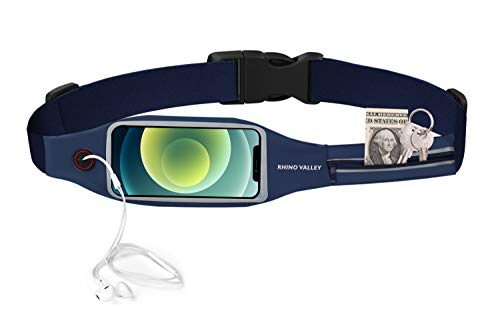 Rhino Valley Riñonera Deportiva, Bolsa Cinturón Impermeable con Cremallera Doble Bolsillo Visible Ventana Pantalla Táctil para hasta 6,5' iPhone 12/12 Pro/11 Pro MAX/X/XR, Galaxy S21 - Azul Marino