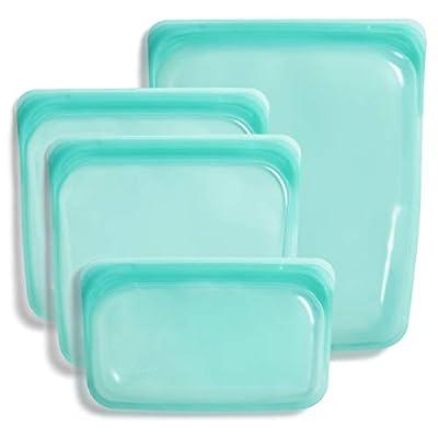 Stasher 100% Silicone Food Grade Reusable Storage Bag, Aqua (4-Piece Bundle Set) | Plastic Free Lunch Bag | Cook, Store, Sous Vide, or Freeze | Leakproof, Dishwasher-Safe, Eco-friendly, Non-Toxic