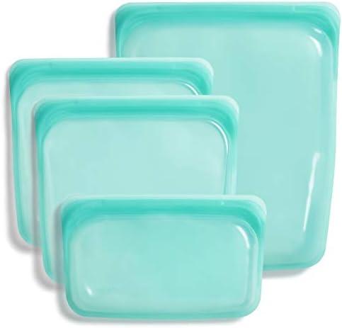 Stasher 100 Silicone Food Grade Reusable Storage Bag Aqua Bundle 4 Pack Small Reduce Single product image
