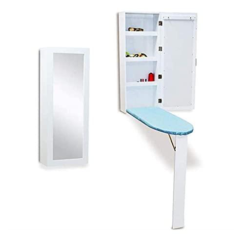 JCNFA-Tablas de planchar Centro de planchado plegable para montaje en pared de muebles,Estación de almacenamiento de planchado plegable Con puerta de espejo,Palanca de fácil liberación,Ar(Color:White)