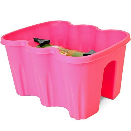 Geländerkasten Balkonkasten   Pink   inkl. Klammern zur Montage   witterungs- und UV-beständig Blumentopf Blumenkasten