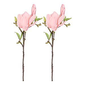 VALICLUD 2pcs Pink Silk Artificial Magnolia Flowers Decoration Bouquet with Long Stem for Home Table Centerpiece Office Vase