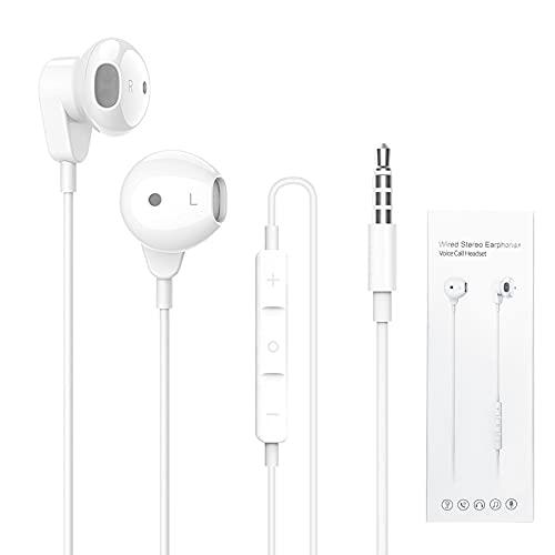 Auricolari In-Ear Cuffie con Microfono, 3,5 mm Cuffie con Cavo, Stereo Bass Auricolari, Earphones Headphones Compatibile per Phone, Pod, Pad, Smartphone, Laptop, MP3