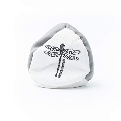 Dragonfly Footbags Quad 4 Panel Metal Filled (Hacky Sack) (White & Gray)