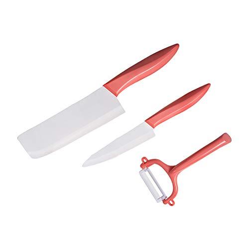 FPOJAFVN Cuchillo De Cerámica De Tres Piezas, Cuchillos De 6 Pulgadas + Cuchillo De Cocina + Cuchillo De 4,5 Pulgadas, Juego De Regalo Combinado De Hoja De Cerámica Antiadherente,Rojo