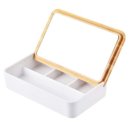 Caja de joyería Flip con Pendientes de Caja del Espejo de la joyería Caja de Almacenamiento de la joyería del Anillo Pendiente del Collar del Reloj de terminar Estante Caso Organizador