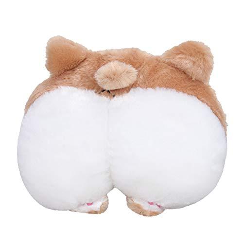 VOSAREA Car Seat Neck Pillow,Auto Headrest Soft Cushion,Corgi Butt Head Neck Support Pillow for Car,Cute Plush Toy Home Decortaion(Brown)