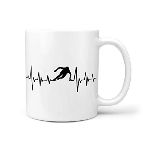 Bohohobo Skate Heart Pulse Taza de café linda pintura vajilla lavavajillas taza de té regalo para Navidad con capacidad de 11 oz blanco 11 oz