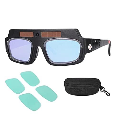 YGXS Oscurecimiento Automático con Energía Solar, Máscara De Soldadura Gafas De Casco Lentes Antichoque De Arco Gles De Soldador con Estuche De Almacenamiento Y Película Protectora