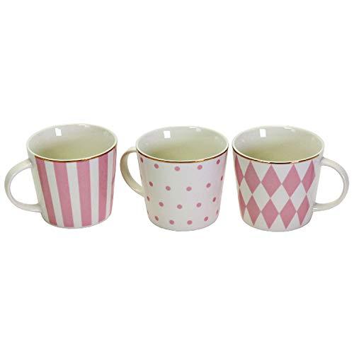 3 Porzellanbecher 3fach sortiert mit Goldrand Rosa Porzellan Geschenk Präsent Tasse Teetasse Becher Mug Kaffeebecher Küche