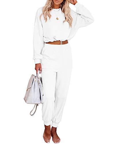 Conjunto de 2 peças feminino Eurivicy de manga comprida com cordão e cintura alta para jogging casual, Branco, Small