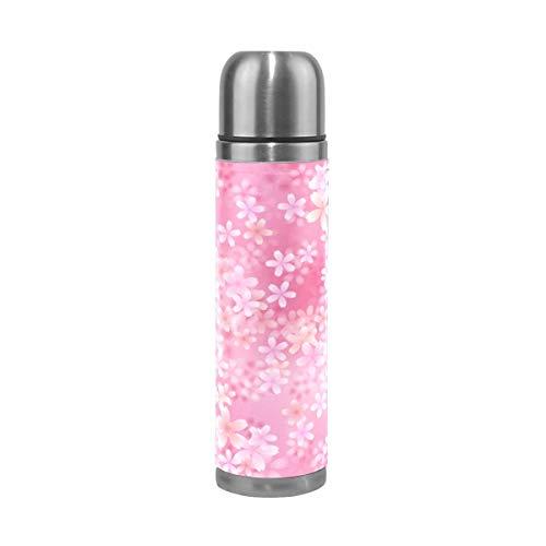 Thermosflasche Thermoskanne Kaffeebecher,Rosa Kirschblüten-Muster,500ml Isolierte Edelstahl Trinkflasche,Thermobecher,100% Auslaufsicher,Isolierbecher,Doppelwandisolierung