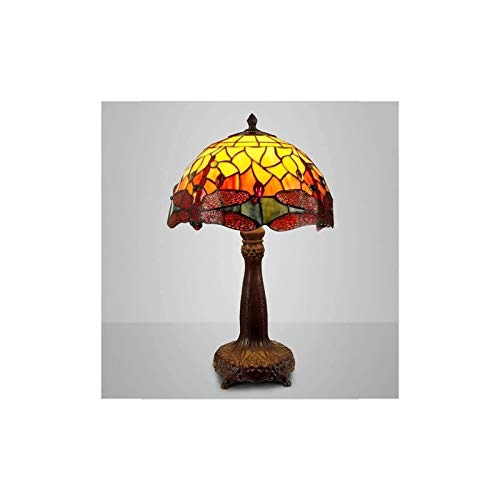 YXX Tiffany Style Table Lamp Stained Glass American Pastoral Dragonfly Bedside Living Room Bedroom Hotel Coffee Shop Handmade Gift Nightstand Lamp, Night Light for bedroom, Home Art Deco