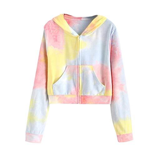 Schöne Camouflage Kapuzenpullover Patchwork O-Neck Sweatshirt für Damen Teenager Mädchen Lässige Kapuzenbluse Langarm Oberteile URIBAKY (S, Elfenbein)