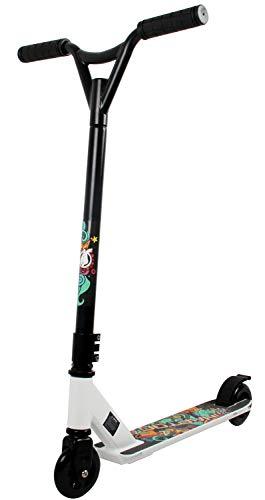 HAPTOO Patinete Stunt, para Adultos jóvenes Adolescentes 81,28 cm H/16 de Ancho Manillar, 47 cm x 10,16 cm, Cubierta Plana Freestyle Stunt Scooter, Blanco