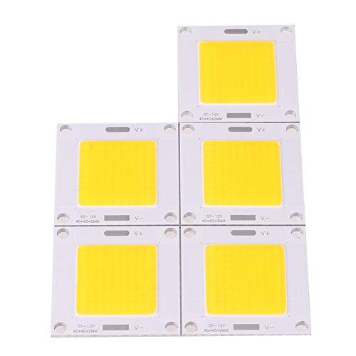 Chip LED 50 W a risparmio energetico e ad alta potenza, Chip LED COB integrato per lampadina, adatto per lampadine e faretti fai-da-te, DC 12~14V, Confezione da 5 50.0W, 12.0V