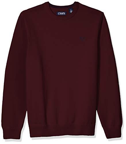 Chaps Men's Classic Fit Cotton Crewneck Sweater, Rich Ruby, XXL