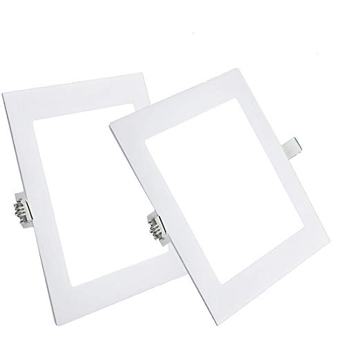 Pack 2x Downlight LED Led Panel light Cuadrado 12W 4000K Luz neutra Ultradelgado LED Panel Downlight Iluminación interior Para oficina hogar pasillo dormitorio pasillo Hall Sala de estar