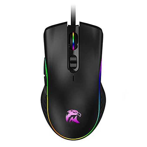 USB Wired Mouse with Side Buttons, Optical Wired Gaming Mouse with RGB Lights Ergonomic Design 6-Button Corded Mouse 6400 DPI Office and Home Mice for Laptop Chromebook PC Desktop Mac Notebook-Black