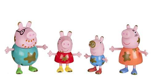 Peppa Pig Peppa y Familia 92613 Wutz PEP0038 - Juego de 4 Figuras exclusivas: Peppa, Schorsch, Mamá y Papa Wutz con Manchas de Barro para niños a Partir de 2 años