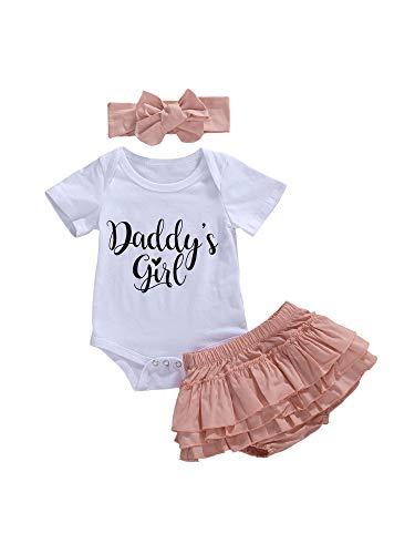Conjunto de 3 piezas de ropa de bebé para papá y niña, conjunto de pantalones cortos de tutú de manga corta y mameluco + diadema