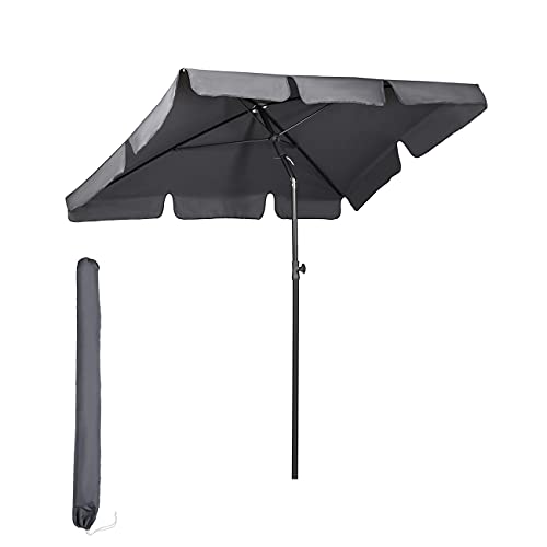 Sekey® 200 × 125 cm Sonnenschirm Marktschirm Gartenschirm Terrassenschirm Sonnenschutz UV 50+ Grau Quadratisch