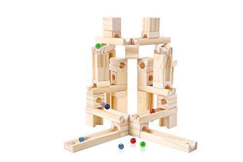 Marble Run Toys, 60 Pieces Wooden Classic Ramps Track Building Construction Set for Children Toddler