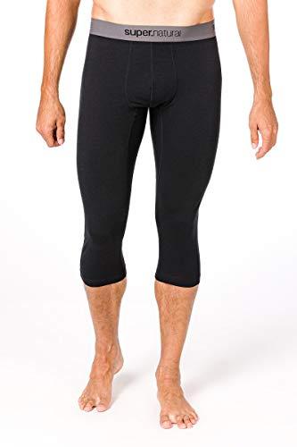 super.natural Sous-vêtement Technique Homme, Longueur 3/4, Laine mérinos, M BASE 3/4 TIGHT 175, Taille: XXXL, Couleur: Noir