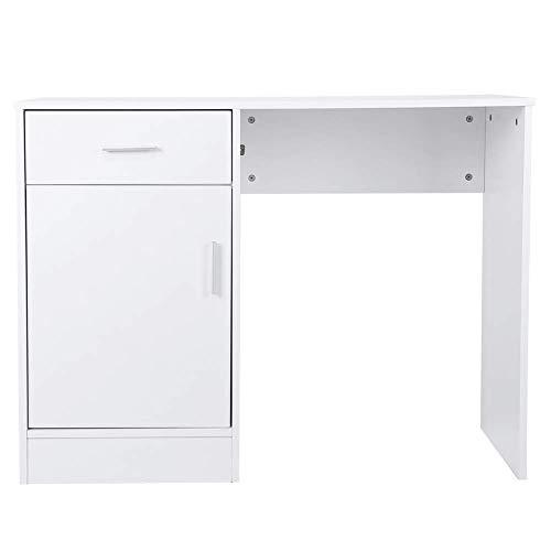 Mesa de oficina Escritorio Mesa de computadora moderna Mesa de trabajo que ahorra espacio con caj¡§?n y mesa de PC estable encogida MDF para dormitorio de oficina en casa, blanco, 100 x 40 x 76 cm