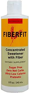 Nutragenics Fiber Fit Liquid Fiber Keto Sweetener – (8 fl oz) Prebiotic Fiber, Low Carb, Gluten Free, Ketogenic Diet Sugar Substitute With No Aftertaste