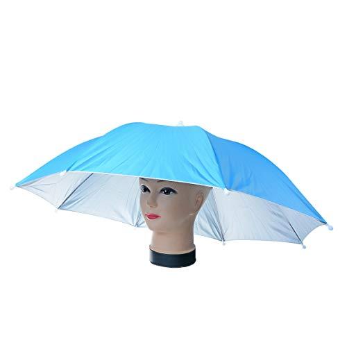 Uotyle Regenschirmhut, Faltbarer Sonnenschutz Regenschirm kopfschirm Hut für Fischen Golf Wandern Outdoor (Himmelblau)