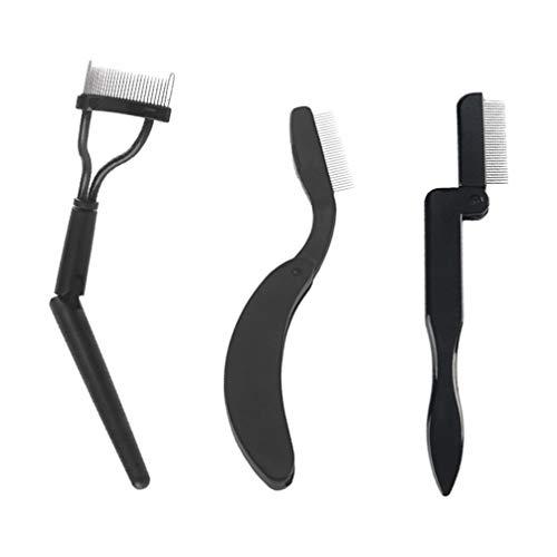 Minkissy Falten Augenbrauen Kamm 3Pcs Edelstahl Zähne Augenbrauen Kamm Wimpernpflege Pinsel für Frauen Mädchen