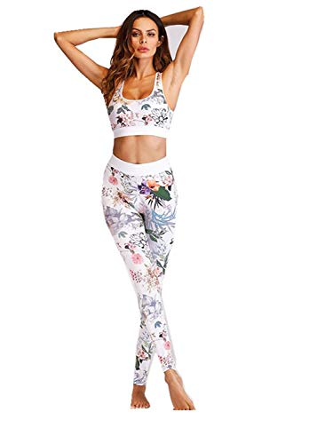 Carolilly, set da yoga da donna, con reggiseno + pantaloni, tuta da palestra, abbigliamento fitness con stampa floreale bianco XL