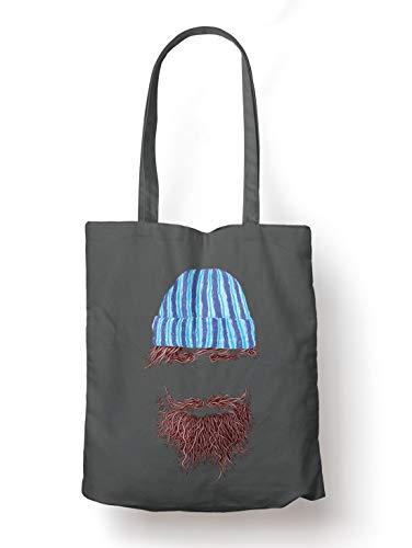 BLAK TEE Lumberjack Beard and Beanie to Rule Them All Organic Cotton Reusable Shopping Bag Grey