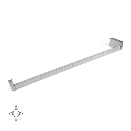 Emuca - Beleuchtung für Kleiderschrank oder Garderobe, Kleiderstange für Kleiderschrank mit batteriebetriebenem LED-Leuchtmittel und Bewegungssensor, Matt eloxiert Aluminium, L 858-1008mm