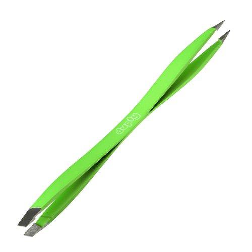 DUPLY Pince à épiler double embouts + Etui - Qualité professionnelle - Vert