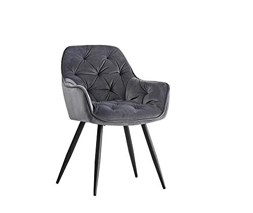 1X Esszimmerstuhl grau aus Stoff (Samt) Wohnzimmerstuhl Farbauswahl Retro Design Armlehnstuhl Stuhl mit Rückenlehne Sessel Metallbeine Schwarz (Grau, 1)…
