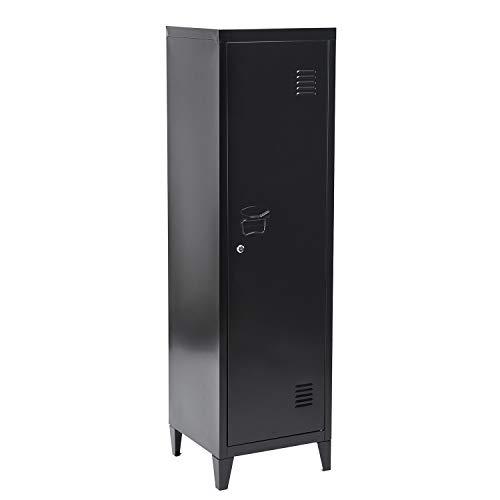 FURNITURE-R France Armoire vestiaire métallique à casiers verrouillables en métal, Porte avec Fermeture à clé, 3 Compartiments intérieurs, Dimensions 138 x 38,5 x 38,5 cm, Noir