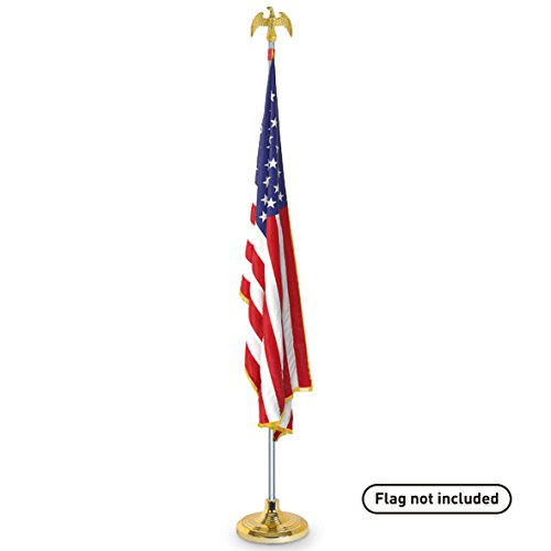 EasyGoProducts Telescoping Indoor Flag Pole Kit with Base Stand and Gold American Eagle Topper Ornament – Set at 6ft, 7ft or 8ft Height