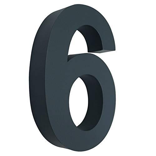 6 Hausnummer 3D anthrazit RAL7016 Edelstahl V2A rostfrei wetterfest Höhe 20cm inkl. Montagematerial erhältlich 0 1 2 3 4 5 6 7 8 9 a b c d